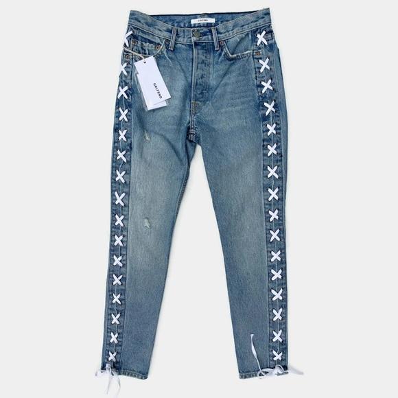 GRLFRND Denim - GRLFRND Karolina Lace Up High Rise Skinny Jeans 25